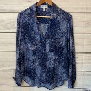 ANTHROPOLOGIE Cloth & Stone Blue Star Print Top